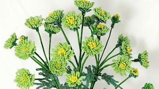 Зеленая кустовая Хризантема из бисера Авторская работа Цветы из бисера. Beaded flowers Beadwork, Art