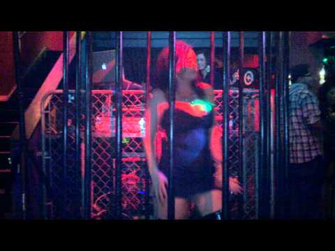 Barbara doing a little cage dancing at Wasted Velvet Night Club on Mill!