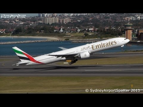 Emirates Boeing 777-300ER A6-ECC - TOWER VIEW - Take Off at Sydney Airport SYD / YSSY