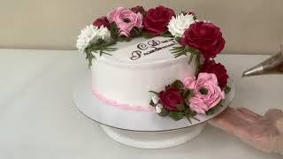 Торт с ДНЕМ Рождения Розы Ранункулюсы Хризантемы из БЗК Красивый торт