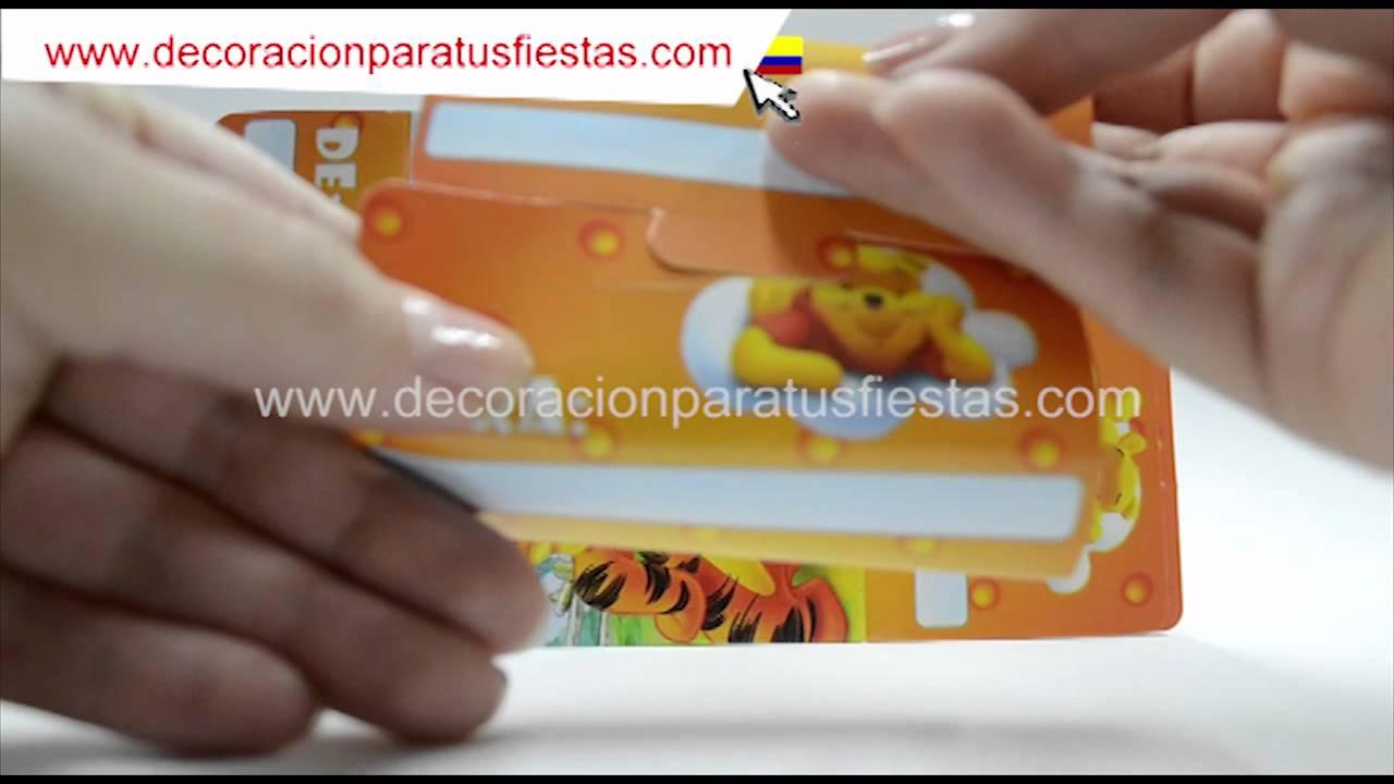 Tarjeta de invitación a cumpleaños infantiles con tema de Winnie Pooh YouTube