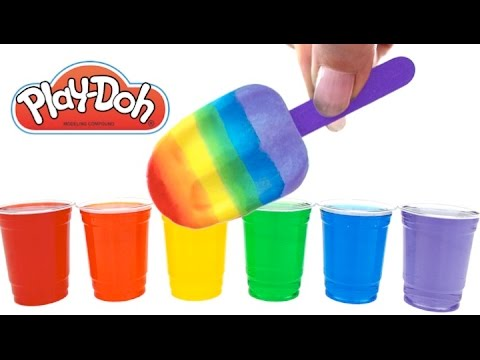 Learn Rainbow Colors Mixing with Play Doh Popsicles and Water Paint * Fun Play * RainbowLearning