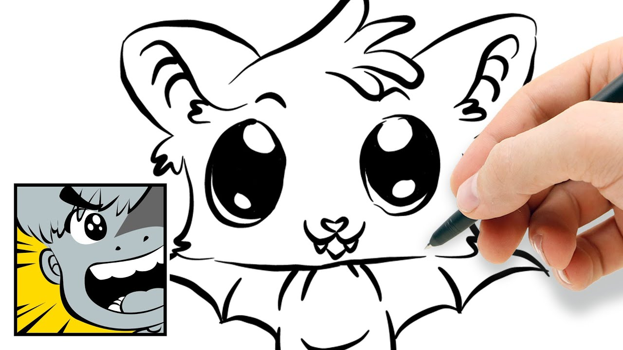 How to draw a cute little bat youtube for How to draw a small bat
