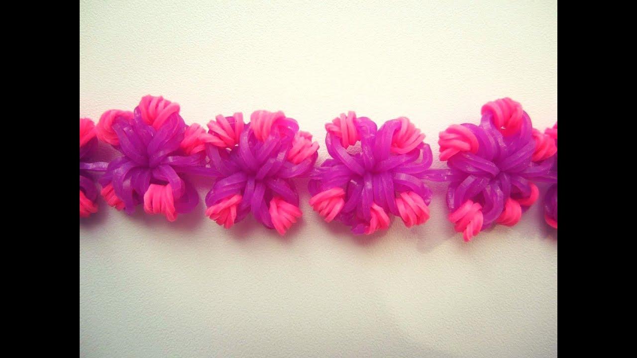 Браслет в цветочек из резиночек