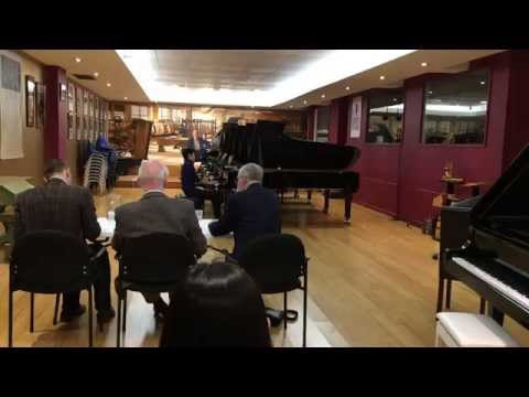 Robin Reza auditions at Theme & Variations Piano Services Sydney showroom