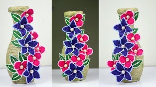 How to make a wonder full flower vase with plastic bottle and jute rope | Diy jute rope crafts