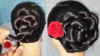 Easy & Quick Hairstyle for wedding || Beautiful Bun hairstyle for girls || summer hairstyles