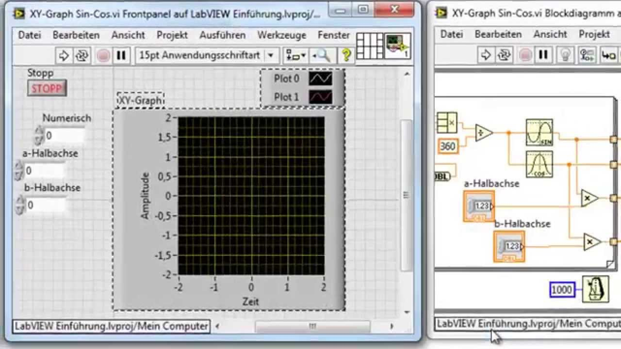 labview xy graph sin cos youtube. Black Bedroom Furniture Sets. Home Design Ideas