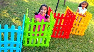Esma and Asya play with Colored playpen funny kid vdeos