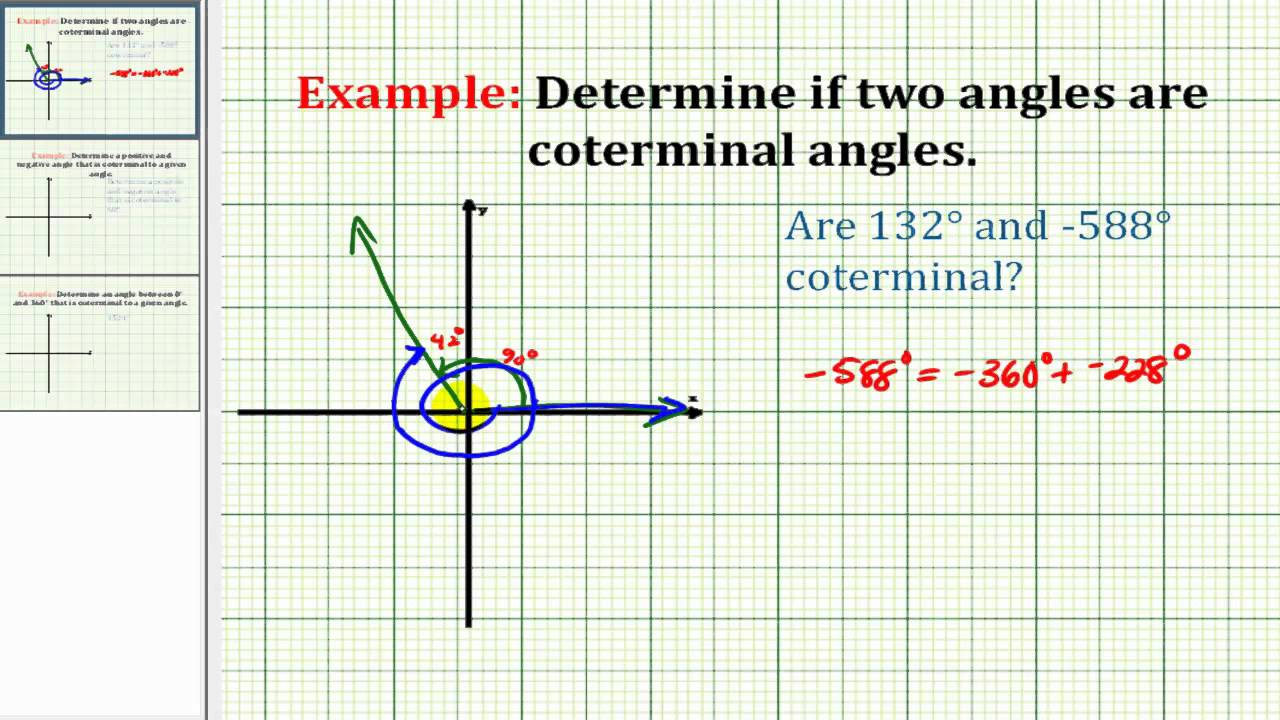 Example Determine If Two Angles Are Coterminal Youtube