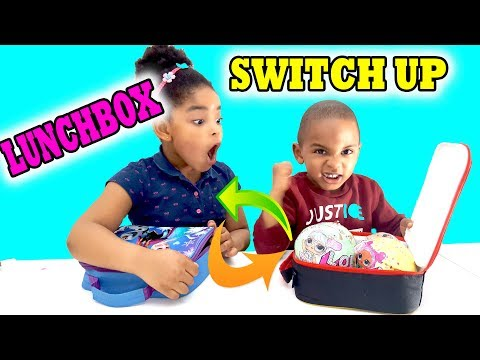THE LUNCHBOX SWITCH UP CHALLENGE WITH SURPRISE TOYS, LOL SURPRISE, SQUISHIES AND FOODS!!