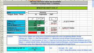Ilmu Falak, Menghitung Waktu Shalat dengan Excel (Shalat Magrib Rumus 1)
