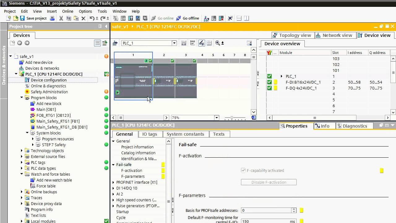 Safety Plc Simatic S7 1200fc Online In Plcsim Simulator