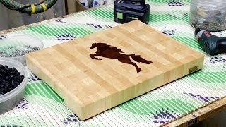 "A ""horse"" Inlaid End Grain Cutting Board"