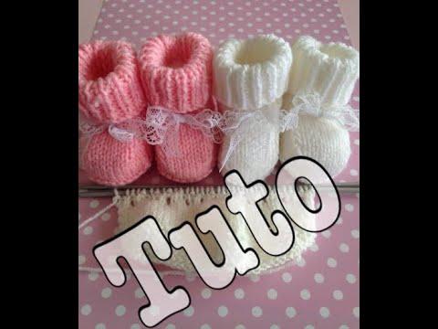 2162e57fa6672 tuto tricot   chaussons bébé partie 1 3 - YouTube