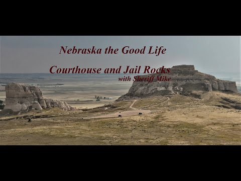 Courthouse and Jail Rocks, Bridgeport, NE, with Sheriff Mike