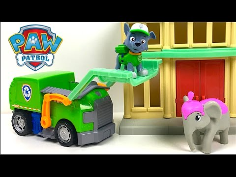 UNBOXING PAW PATROL ROCKY'S CITY HALL - RESCUE ELLIE THE ELEPHANT WITH RUBBLE  MARSHALL AND RYDER