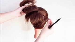 Красивая Прическа с бубликом Hairstyles with in 1 donut Peinados