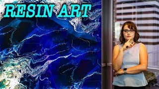 Resin Art , waves and tornadoes on deep blue, lacing effect - easy with voice over