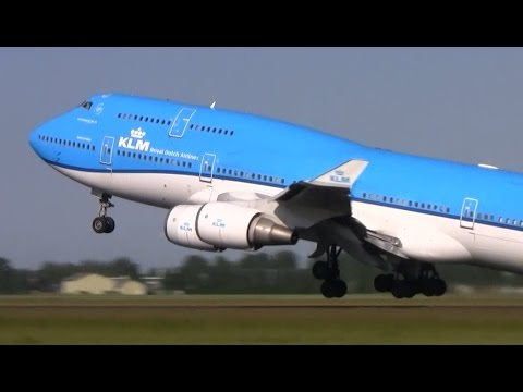 Plane spotting at Schiphol Amsterdam - 35 planes take off and landing in 12 minutes