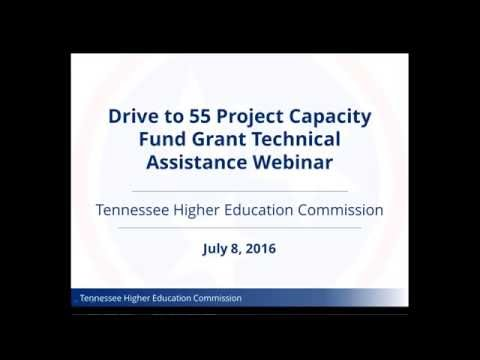 Drive to 55 Project Capacity Fund Grant Webinar