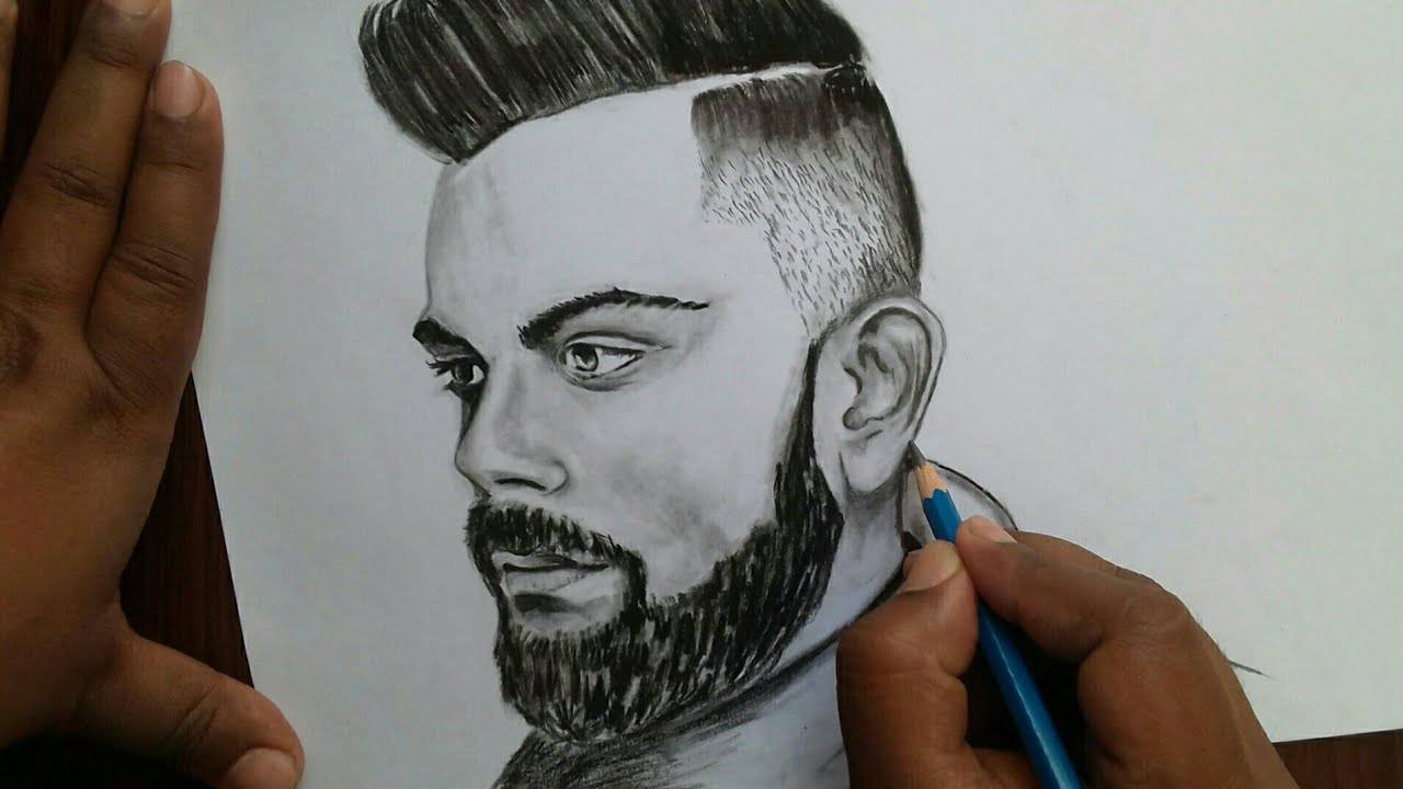 How To Draw Virat Kohli World Cup 2019 Drawing Ipl 2019 Drawing Step By Step