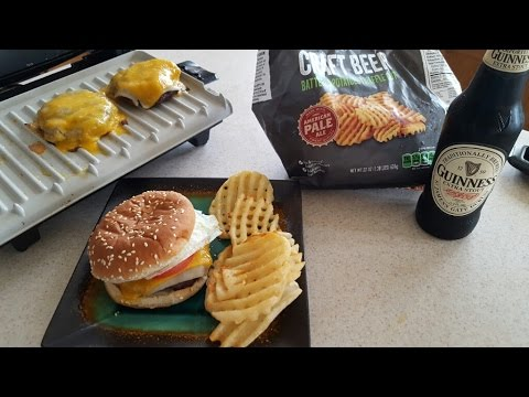 George Foreman Grill Cheesburgers Craft beer waffle cut fries GBR5750S