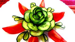 HOW TO MAKE CUCUMBER FLOWER - CARROT ROSE - ART IN CUCUMBER DESIGN GARNISH & VEGETABLE CARVING