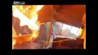 US Race Car Driver escapes FIERY CRASH - LIVE LEAK 2013