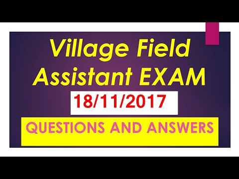 VILLAGE FIELD ASSISTANT EXAM ON 18/11/2017 GK question and answer
