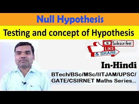 Testing of Hypothesis - concept, Null Hypothesis in hindi