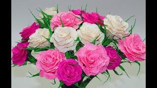 Paper rose flower making easy | How to make crepe paper rose | DIY room decor ideas | Julia DIY