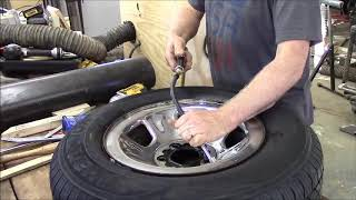 Home made bead breaker, removing balancing beads and mounting tires
