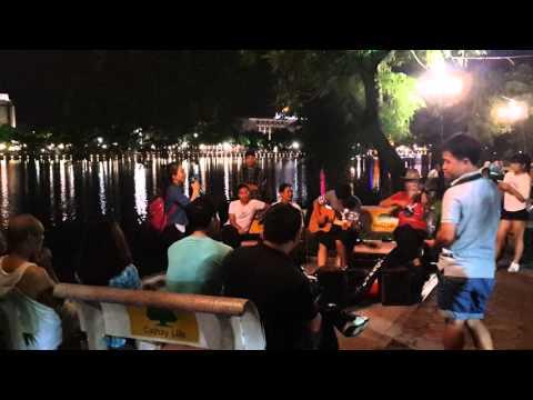 Street karaoke in Hanoi Vietnam