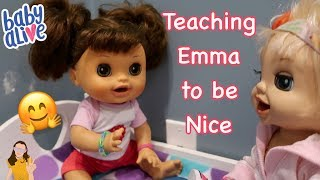 Baby Alive Paige Teaches Emma to be Nice | Kelli Maple