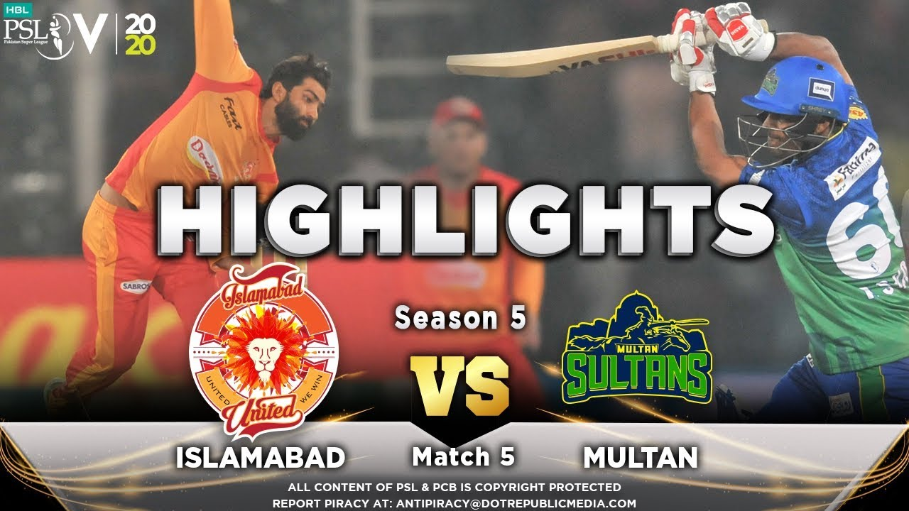 Islamabad United vs Multan Sultans | Full Match Highlights | Match 5 | 22 Feb | HBL PSL 2020
