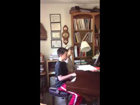 12 yo Thomas at piano lesson with teacher Leslie, Davis CA.