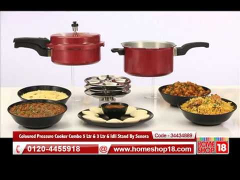 35a1a4a0025 Homeshop18.com - Coloured Pressure Cooker Combo 5 Ltr   3 Ltr   Idli Stand  By Senora