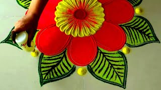 Bright Red Flower Rangoli | Easy and Simple Rangoli Designs By Sneha J |