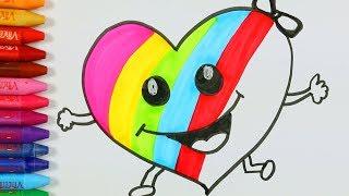 In pitture a colori di qualità HD | Per i video dei bambini | Pagine di Colorazione Cuore 💜