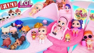 LOL Surprise Dolls Lemonade Baby Visit Pool with Barbie Hospital + Custom Surprises Lil Brother
