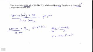 Infusion time Large volume with drop factor  Formula