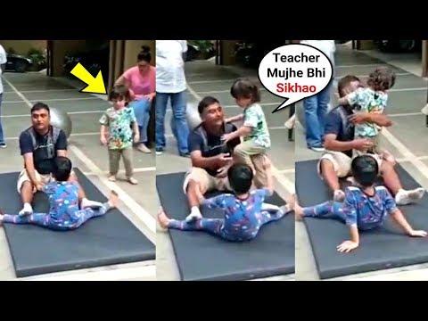 Taimur Ali Khan Get Jealous Of Yoga Teacher Teaching Laksshya Kapoor
