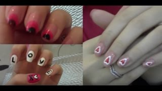 3 nail art designs for valentine s day 3 موديلات رسم عالأضافر ليوم الحب
