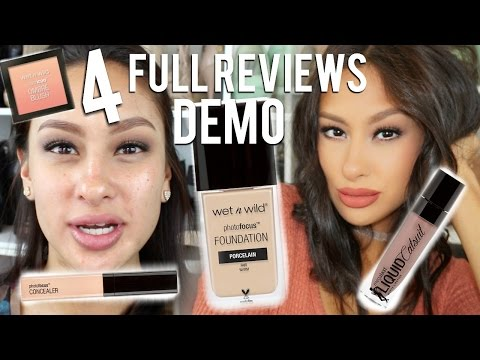 4 NEW WET N WILD PHOTO FOCUS FOUNDATION, CONCEALER, CATSUIT LIQUID LIP, & BLUSH  REVIEW | DEMO