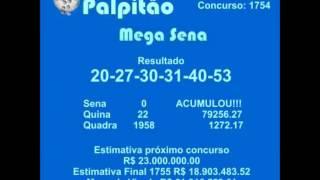MEGASENA CONCURSO 1754 24102015