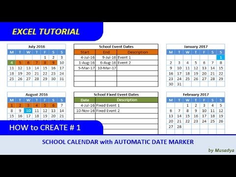 How To Create Excel School Calendar With Automatic Date Marker