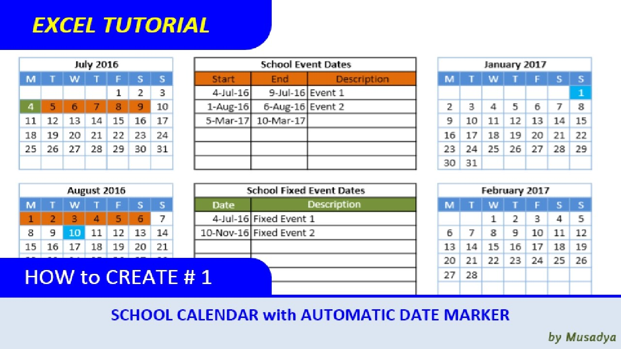 How to Create Excel School Calendar with Automatic Date Marker YouTube