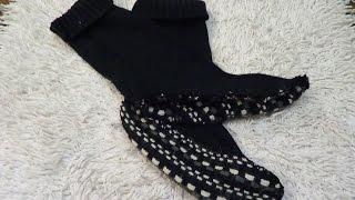 теплые носочки из СТАРОГО свитера За 15 минут!