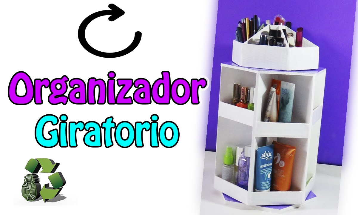 Diy organizador giratorio con cart n reciclaje ecobrisa - Manualidades en reciclaje de carton ...